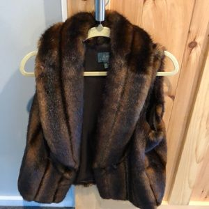 Ralph Lauren Faux Fur Brown Collared Vest